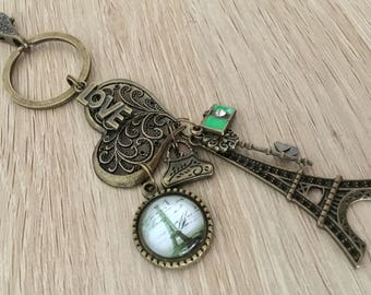 Vintage Style Antique Metal & Glass Bronze Eiffel Tower French Paris Keyring Keychain key ring key chain