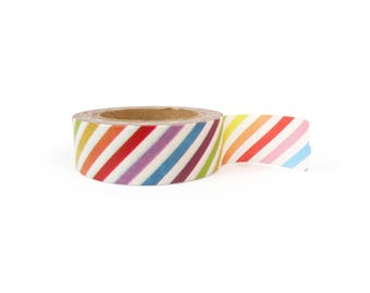 Washi tape - Rainbow stripes, stationery, stationary, LittleLeftyLou, Snail Mail, Happy mail, masking tape, 10 meter, pattern, striped washi