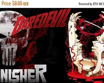 "ON SALE Counted Cross Stitch Pattern - Daredevil Vs Punisher - 15.71"" x 8.86"" - L1167"