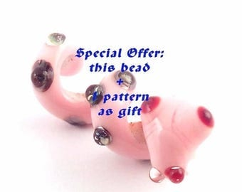ON SALE 25% OFF Special offer 1 pattern + 1 snake loversofbeads Sra artist Lampwork pink Snake Glass Dread Bead - S867