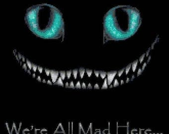 """We re All Mad Here Counted Cross Stitch Alice Pattern Alice cross stitch Cheshire Cat pattern - 11.79"""" x 11.00"""" - L1473"""