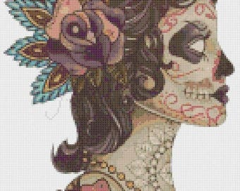 "dead girl sugar skull Counted Cross Stitch sugar skull pattern modern cross stitch needlepoint - 9.84"" x 17.71"" - L915"