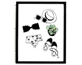 Summer Fashion Art / Fashion Illustration Print / Fashion Sketch / Succulent Print / Bikini Illustration / Fashion Poster/ Feminine Wall Art