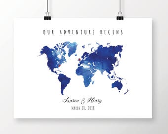 Blue world map etsy printable navy blue watercolor world map guest book editable pdf template diy personalized large gumiabroncs Gallery