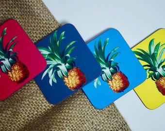 Set of 4 - Pineapple Coasters - Handmade