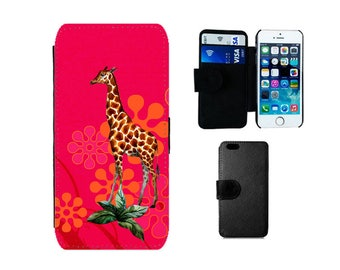 Wallet case Samsung Galaxy S8 Plus, S7 S6 Edge, S4 S5 Mini, Flip iPhone 8 7 6S 6 Plus, X SE 5S 5C 5 4S 4 Giraffe cover animal gifts. F348