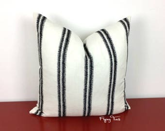 Black and White Stripe Pillow Cover - Paloma Embroidery - Schumacher - Designer - Choose 1 SIDED OR 2 SIDED -  Ebony / White