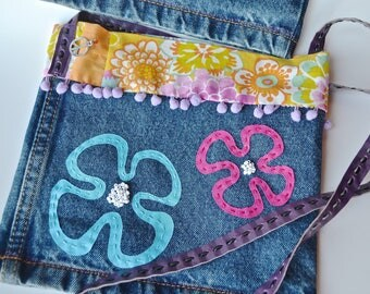 Bag hippie chic-small bag shoulder strap-upcycling bag jeans bag-flower power