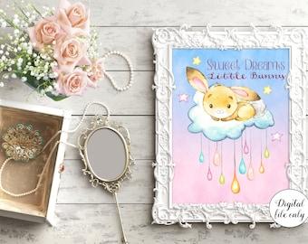 Bunny Rabbit - Sweet Dreams Little Bunny Nursery quote ,Prints, Print,Nursery  Wall Art