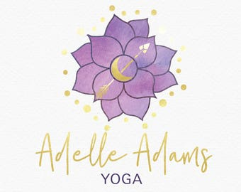 Purple Lotus Logo Design , Lotus Blossom Logo , Lotus Flower Logo , Purple and Gold , Gold and Purple , Floral Logo , Yoga Logo , Reiki Logo