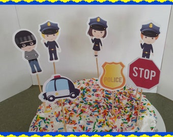 POLICE DEPARTMENT  Cake or Cupcake Toppers Set of 12... Choice of one side or two sided pick