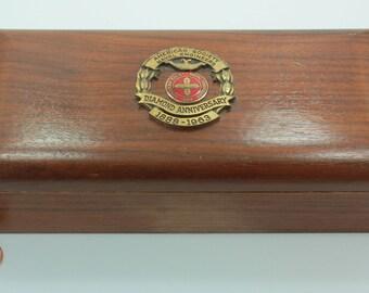 American Society of Naval Engineers 1963 Diamond Anniversary Wooden Trinket Box