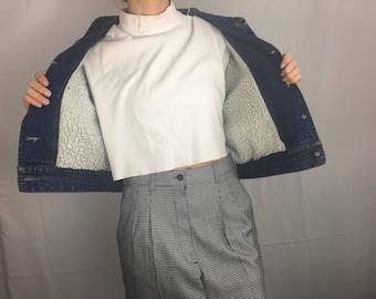 Vintage Cropped Darkwash Sherpa Lined Jean Jacket