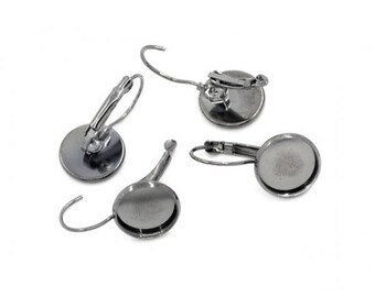 20 Gunmetal 12mm Cabochon Stud Earrings