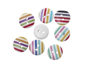 50 striped multicolor 15 mm wooden buttons