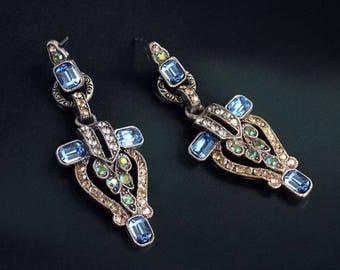 Art Deco Crystal Torch Earrings, Vintage Earrings, Great Gatsby Jewelry, Flapper Earrings, Art Deco Jewelry, Geometric Earrings E1206