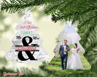 Our First Christmas as Mr & Mrs, Personalized, 1st Christmas Ornament, Free Shipping