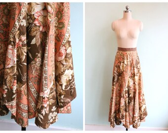 Vintage 1970's Floral Flared Skirt | Size Extra Small