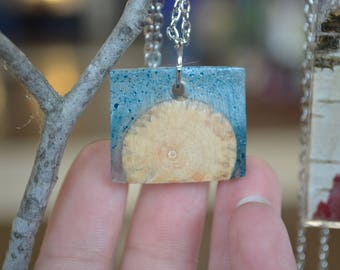Resin and New Hampshire Wood Pendant Necklace