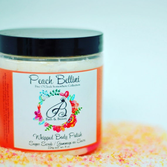 PEACH BELLINI Whipped Sugar Scrub, Body Polish,Exfoliating Scrub,Whipped Soap,Foaming Sugar Scrub,Bubble bath