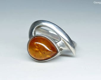 Baltic Amber Vintage Sterling Silver Ring, Size 8