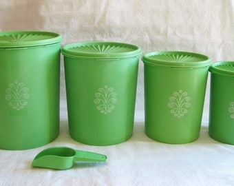 Lime Green Servalier Storage Containers PLUS Matching Scoop – Vintage Tupperware Canisters #805 through #812 and Scoop #878