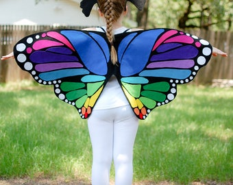 Rainbow Monarch Butterfly Wings Costume Ages 1 to Adult