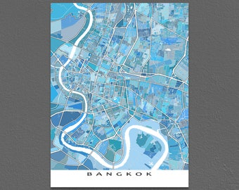 Bangkok Map, Bangkok Thailand, Bangkok Art Print, Travel Wall Art Map