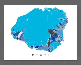 Kauai Map Wall Art Print, Kauai Hawaii, Hawaiian Islands USA, Map Prints
