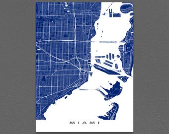 Miami Map Print, Miami Florida, City Art Maps, USA