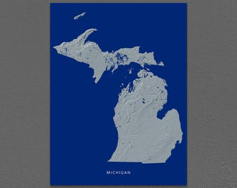 Michigan Map, Michigan Wall Art, MI State Art Print, Landscape, Navy Blue