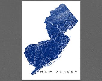 New Jersey Map, New Jersey State Outline, NJ Map Art Print