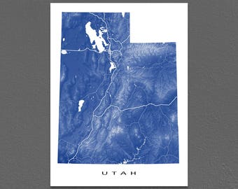 Utah Map Print, Utah State Art, UT, USA, Salt Lake City