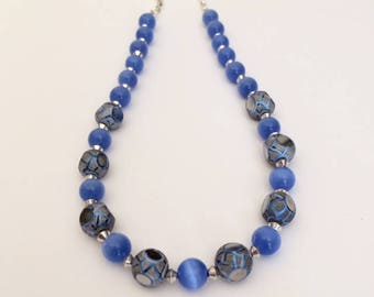 Statement Necklace Beaded Blue Silver Necklace Blue Cats Eye Necklace Blue Bead Necklace Indian Glass Bead Modern Necklace Wife Gift For Her