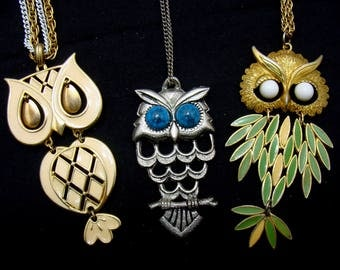 Vintage owl necklace lot-large owl necklaces-old owl jewelry-articulated owl necklace-bird jewelry lot-vintage jewelry lot-ready to wear