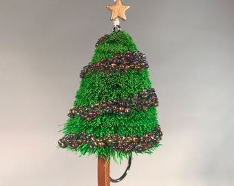 Hand Tied Spun Deer Hair Fly Fishing Fly Christmas Tree Ornament on Hook - 3 inches tall - Kelly Green Tree (Mardi Gras colored ornaments)