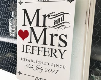 Personalised Wedding Sign, Mr and Mrs Metal Plaque - Vintage style - Anniversary Gift - Bride and Groom - A4 plaque - 200mm x 300mm