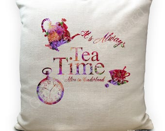 Alice in Wonderland Cushion Cover, Vintage Mad Hatter Tea Party, Flower Montage Home Decor Quote always Tea Time tea pot - 40cm 16 inches