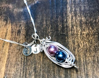 Custom hand stamped and wire wrapped Birthstone Peapod Necklace