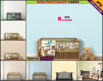 Nursery Styled Interior NC3 | Light & Dark Wood Crib Scenes | 8 JPG Blank Wall Styled Scenes | Nursery Wall decor | Scene Creator