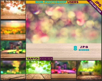 Empty Table Top OT-C1 | 8 JPG Close-up Wood Table Scene | Outdoor Nature Blur Background | Product Display Scene Creator