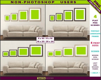 Wall Display Guide | 4 Print Sizes | Non-Photoshop | 4 PNG Modern Sofa Interior Scenes | Portrait Landscape Light & Dark wooden frames