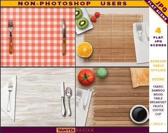 Desktop Table Styling   Styled JPG Scenes DT-3   Non-Photoshop   Fabric Bamboo Wood Table   Breakfast Fruits Cutlery   Coffee Cup