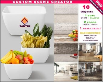 White Bowl Square | Photoshop Print Mockup B4-0 | Custom Scene Creator | Fruits Salad | Fabric Wood Table | Smart object Custom color