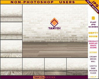 Empty Room JPG Interior Scene ER-C3 | Non-Photoshop | Blank Creamy Brick Wall | Wooden Floor | Product Display Scene Creator