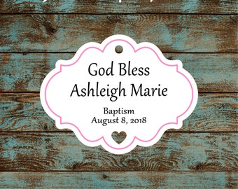 Personalized Favor or Gift Tags - God Bless Baptism Tags with Pink Border #765 - Quantity: 30 Tags