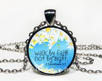 2 Corinthians 5:7-Glass Pendant Necklace/Bible Verse/Scripture/Christian Gift/Religious Jewelry/Faith Necklace/Baptism Gift/Bible Chapter