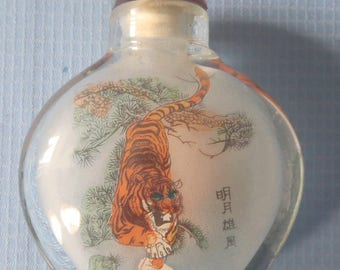"""Reversed oil hand painting of """"Tiger"""" in glass bottle by Master painter signed"""