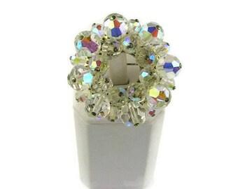 Beaded Crystal Circle Brooch