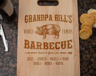 Grandpa Personalized Cutting Board,  Wood Cutting Board, Laser Engraved, Maple Cutting Board, Cheese Board, Housewarming gift